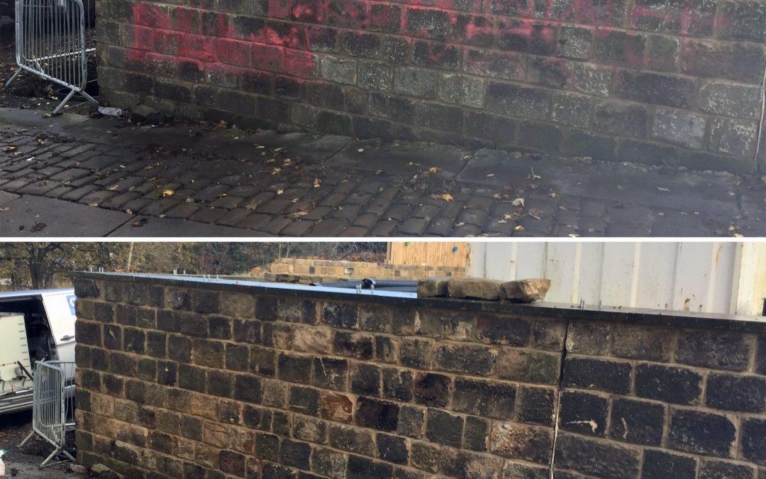 Graffiti Removal on Stone Wall