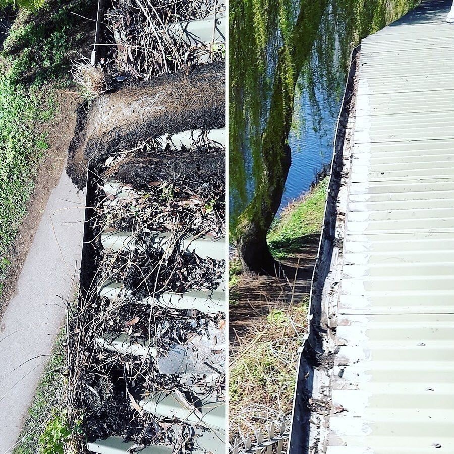 Gutter cleaning before and after by Clear Choice