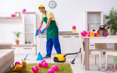 Cleaning the Office After the Christmas Party